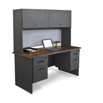 "Marvel Office Furniture Pronto 60"" Double File Computer Desk Credenza with Flipper Door Cabinet"