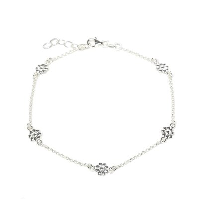 Sterling Silver 10 inches Flower Anklet