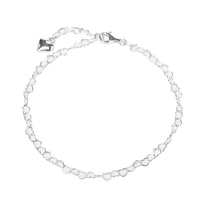 Sterling Silver 10 inches Heart Anklet