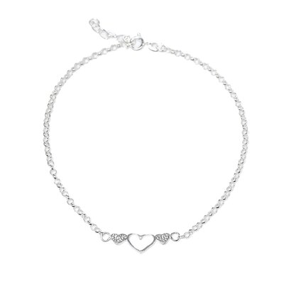 Sterling Silver 9 inches Heart Anklet