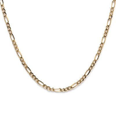 <strong>Sterling Essentials</strong> 14k Gold over 3mm Silver Figaro Chain