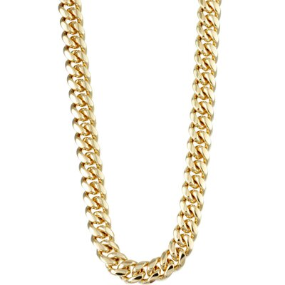 14k Gold over Silver 18 inches Classic Cuban Link Necklace