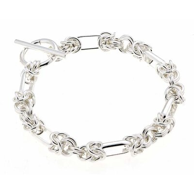 Sterling Essentials Sterling Silver 7.5 inches Handmade Link Bracelet with Toggle Clasp