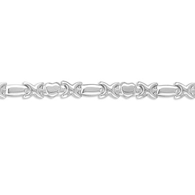 Sterling Silver 7 inches Hearts and Hugs Bracelet