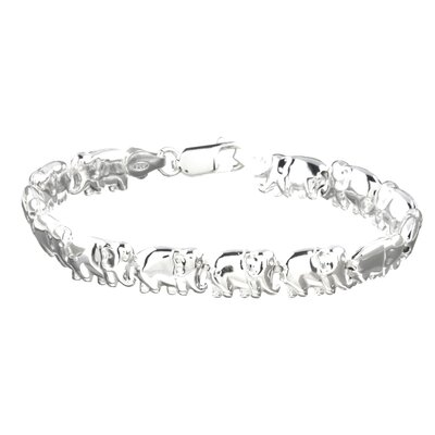 Sterling Silver 7 inches Lucky Elephants Bracelet