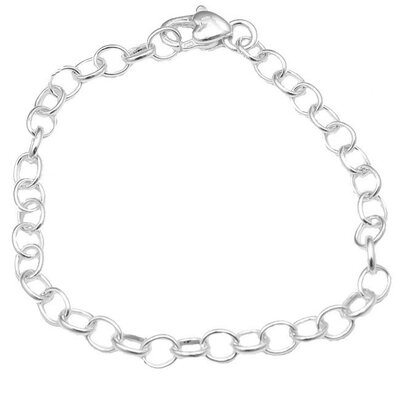 Sterling Silver 7 inches Sweetheart Charm Bracelet