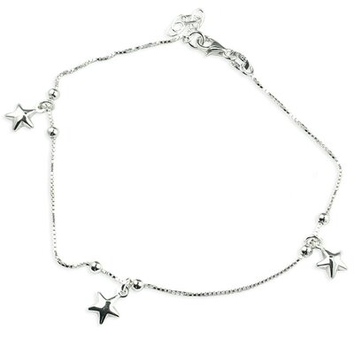 Sterling Silver 10 inches Stars Anklet