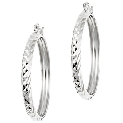 Sterling Essentials Platifina Platinum Plated Sterling Silver 1.5 inches Swiss-Cut Hoop Earring