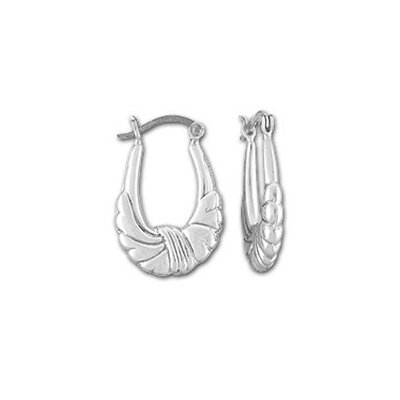 Sterling Essentials Sterling Silver Sculptured Ribbon Hoop Earrings