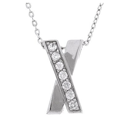 Sterling Essentials Sterling Silver Necklace with Classic X Cubic Zirconia Pendant