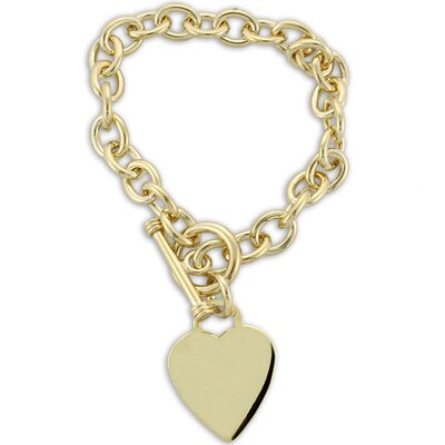 14k Gold over Silver 7 inches Heart Toggle Bracelet