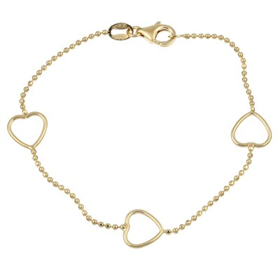 14k Gold over Silver 7 inches Heart Station Bracelet