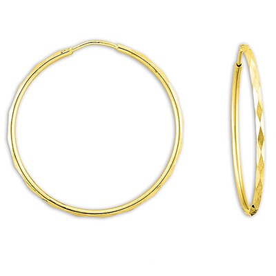 Sterling Essentials 14k Gold over Silver 32.5mm Faceted Hoop Earrings
