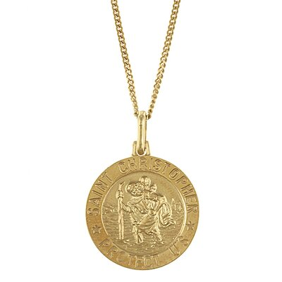 14k Gold over Silver 20 inches St. Christopher Necklace