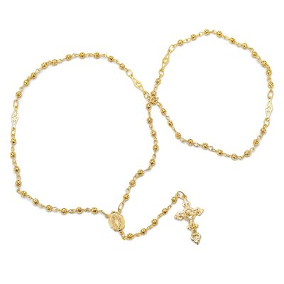 Gold Plated Bronze Cut-Out Beaded Rosary Necklace