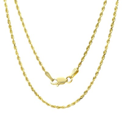 Sterling Essentials 14K Gold Diamond-Cut Rope Chain Necklace