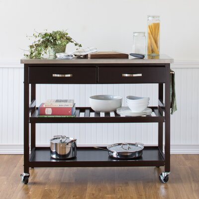 Castleton Home Kitchen Island With Stainless Steel Top Ii