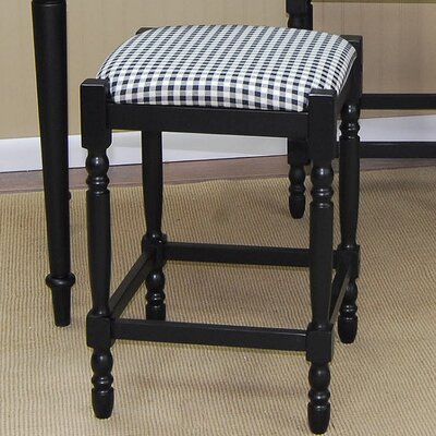 Hawthorne Stool with Distressed Antique Black Frame