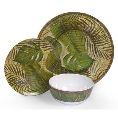 Island Way Melamine Tropical Leaf 3 Piece Dinnerware Set