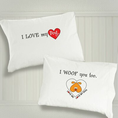 "Dog SnorZ ""I Love My Dog"" / ""I Woof You Too"" Cotton Pillowcases"