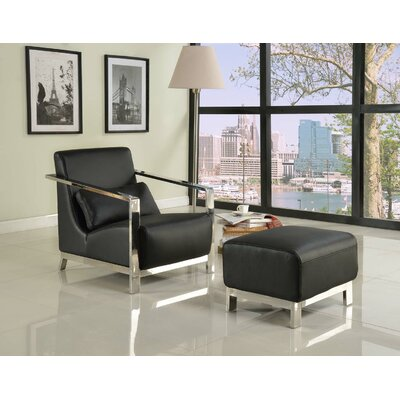 Whiteline Imports Erika Armchair and Ottoman