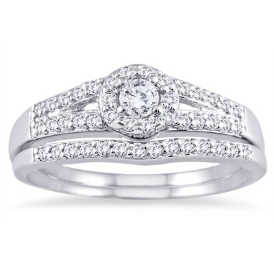 White Gold Round Cut Diamond Bridal Ring Set