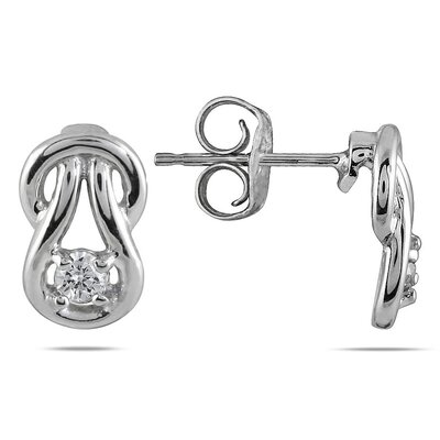 Round Cut Diamond Love Knot Stud Earrings