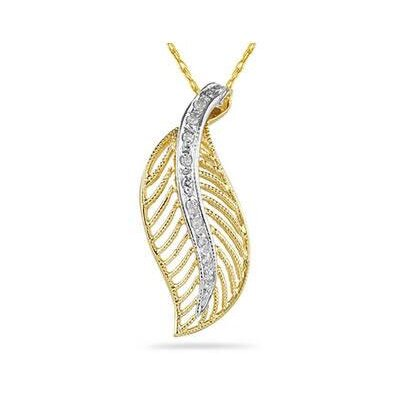 14K Yellow Gold Round Cut Diamond Leaf Pendant