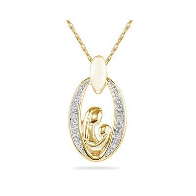 Szul Jewelry 14K Yellow Gold Round Cut Diamond Mother and Baby Pendant