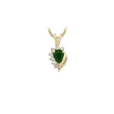 Szul Jewelry 14K Yellow Gold Pear Cut Emerald Flare Pendant