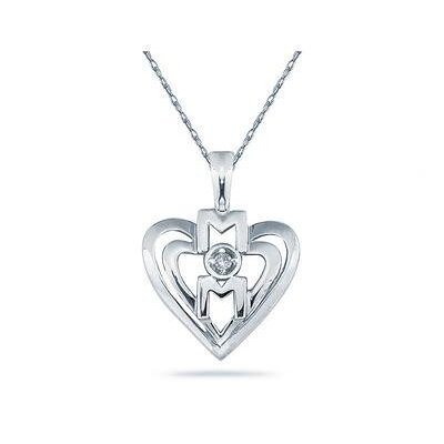 Szul Jewelry Round Cut Diamond Heart MOM Pendant