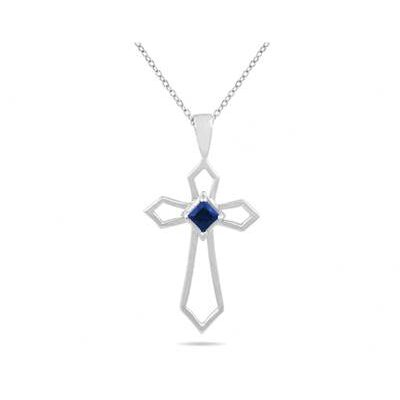 10K White Gold Princess Cut Sapphire Cross Pendant