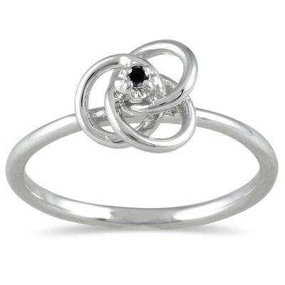 10K White Gold Round Cut Diamond Swirl Promise Ring