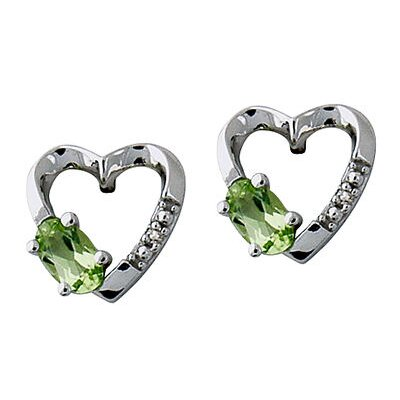 14K White Gold Oval Cut Peridot Heart Stud Earrings
