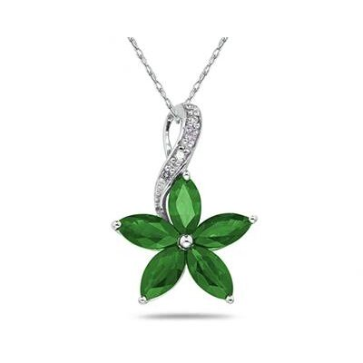 10K White Gold Marquise Cut Gemstone Flower Pendant
