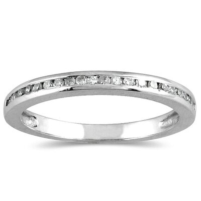 10K White Gold Round Cut Channel Set Diamond Wedding Band