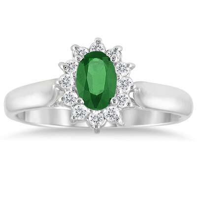 10K White Gold Oval Cut Gemstone Flower Ring