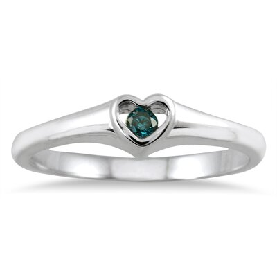 14K White Gold Round Cut Diamond Heart Ring