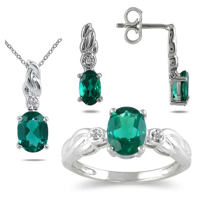 Sterling Silver Oval Cut Emerald Jewelry Set