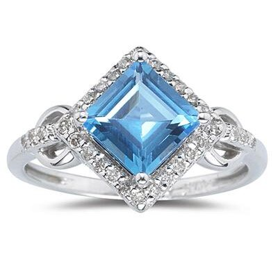 14K White Gold Princess Cut Topaz Ring