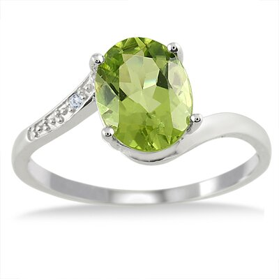 Sterling Silver Oval Cut Peridot Ring