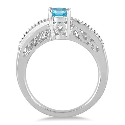 Szul Jewelry Sterling Silver Oval Cut Topaz Ring
