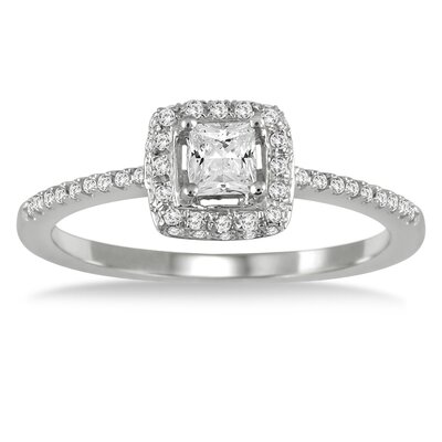 10K White Gold Princess Cut Halo Engagement Ring