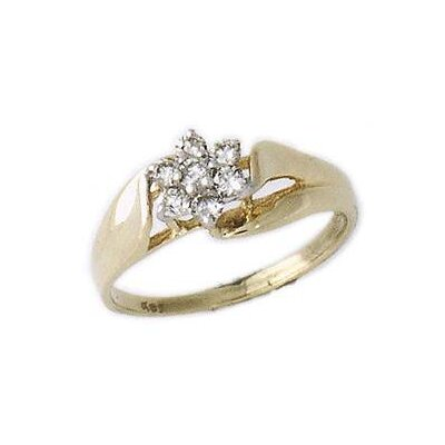14K Round Cut Diamond Flower Ring