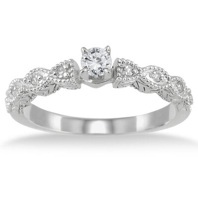 10K White Gold Round Cut Diamond Promise Ring