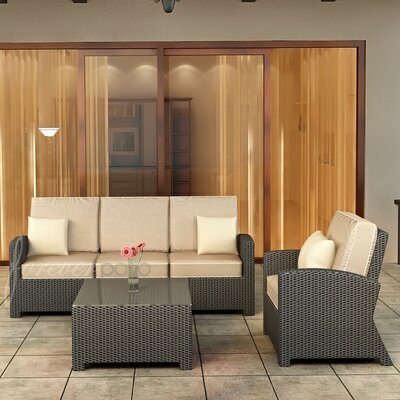 Forever Patio Barbados 3 Piece Sofa Deep Seating Group with Cushion
