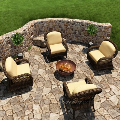 Leona 4 Piece Deep Seating Chair with Cushion