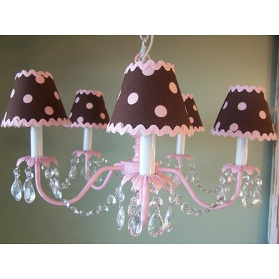Baby Pink and Brown 5 Light Chandelier