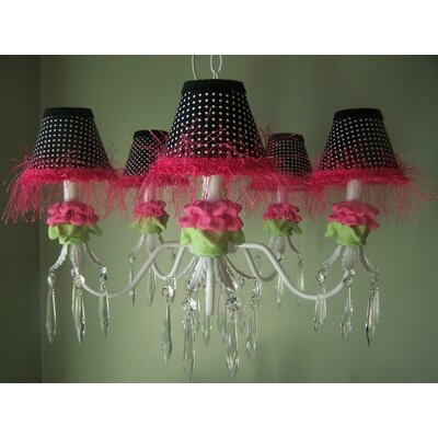 Hot Pink and Black Flower 5 Light Chandelier