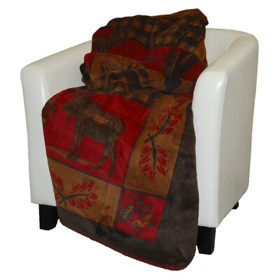 Denali Throws Acrylic Moose-Bear Double-Sided Throw